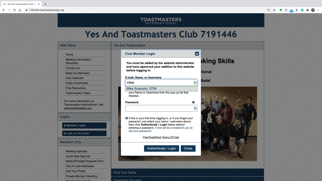 Enter name on the login screen of the Yes And Toastmasters FreeToast Host Site