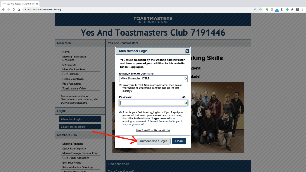Click Authenticate/login on the login screen of the Yes And Toastmasters FreeToast Host Site