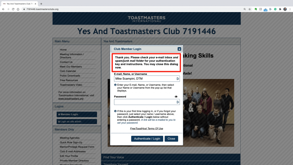 Thank you message on the login screen of the Yes And Toastmasters FreeToast Host Site