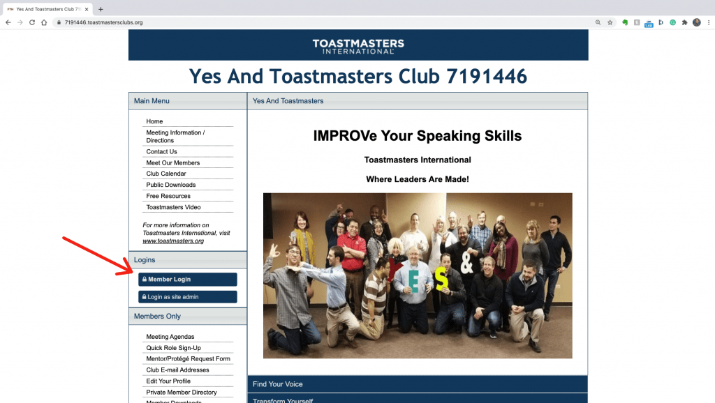 Red arrow pointing to member login on the Yes And Toastmasters FreeToast Host Site