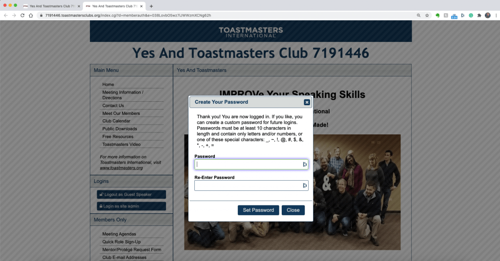 Password reset on the Yes And Toastmasters FreeToast Host site